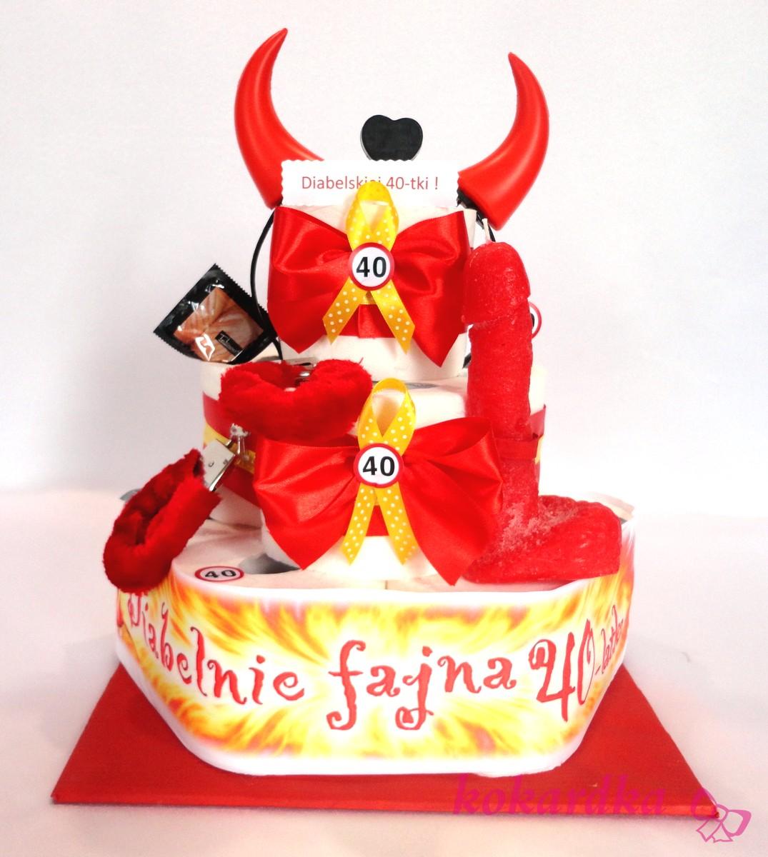 Tort Urodzinowy Z Papieru Diabelska 40 Stka Dla Kobiety Siostry Kolezanki Z Pracy Kokardka