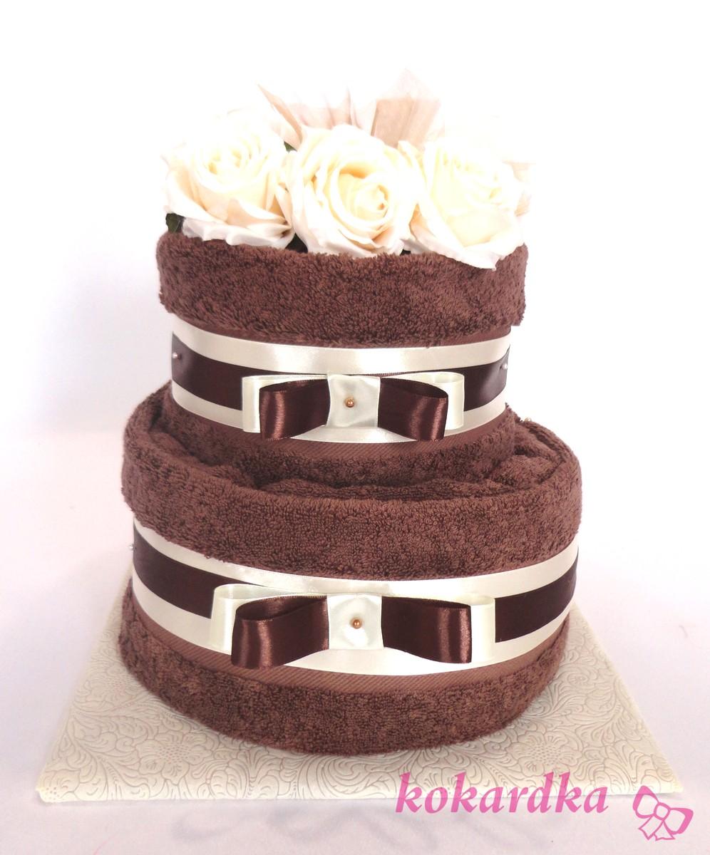 Fantastyczny Tort z Ręczników Czekoladowo-Ekreu na Ślub Rocznicę Ślubu Urodziny HO18