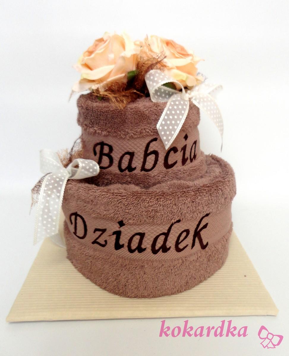 Modne ubrania Tort z Ręczników dla Babci Dziadka na Rocznice ślubu Imieniny IM97