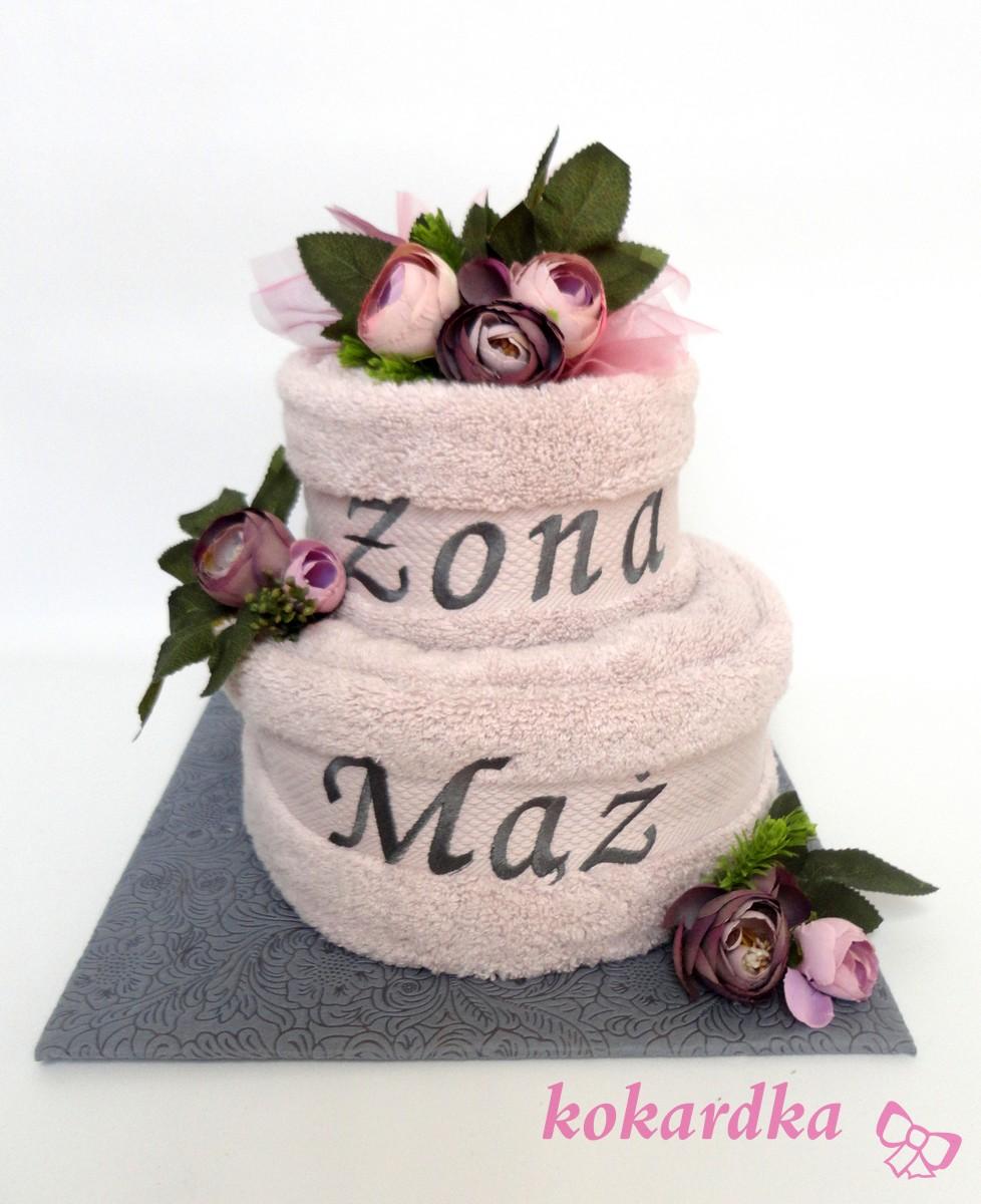 Chwalebne Tort z Ręczników na Ślub Dla Młodej Pary Mąż Żona ⋆ Kokardka SI13